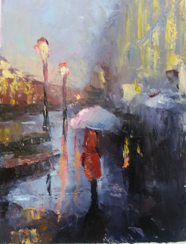 Jpg, Rainy Street, oil